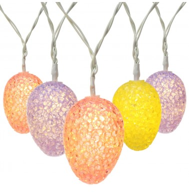 Brizlabs Pastel Egg Lights, 5.9ft 10 LED Easter Lights String Battery Powered Egg String Lights for Easter, Party, Fireplace, Mantels, Door, Tree,Upstairs, Banister and More Home Decoration