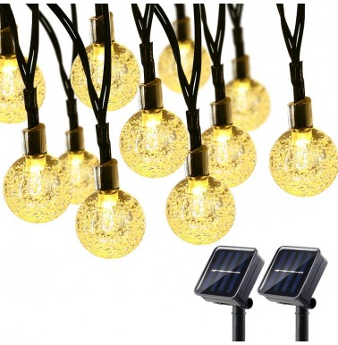 BrizLabs 2 Pack Solar Globe String Lights, 21.33ft 30 LED Outdoor String Lights, Waterproof 8 Modes Crystal Ball Solar Light String for Yard Patio Garden Wedding Pergola Gazebo Bistro Party, Warm White