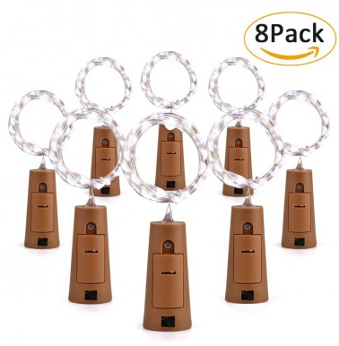 BrizLabs Wine Bottle Lights with Cork Shape, 20 LED Fairy Lights, 6.56ft DIY Fairy String Lights 8 Pack Battery String Lights for Mothers Day, Party, Wedding, Indoor and Outdoor Decorations,Cool White