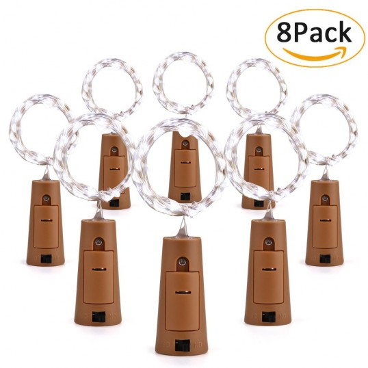 20 Led Wine Bottle Fairy Lights With Cork Shape 8 Pack Cool White Brizlabs