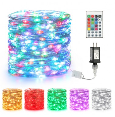 BrizLabs Fairy String Lights, 66ft 200 LEDs Color Changing RGB Lights with Remote Timer Options,Waterproof Firefly Light Silver Wire Flexible DIY for Halloween Christmas Indoor Decor