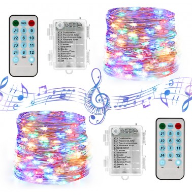 BrizLabs Multicolor Fairy Lights, 12 Modes Pulse Fairy Lights with Remote & Timer, 19.47ft 60 LED Mini String Lights Battery Powered Silver Wire Starry Light for Indoor Outdoor Bedroom Wedding, 2 Pack
