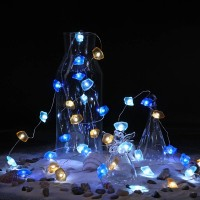 BrizLabs Decorative String Lights Ocean Themed, 9.84ft 40 LED String Lights with Timer & Remote, Fairy Lights Battery Powered, 8 Modes Beach Lights for Bedroom, Christmas, Water Room, Wedding Decor