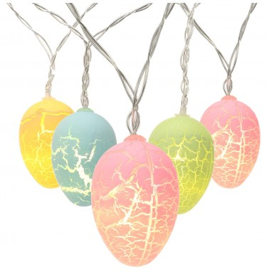 Brizlabs 10 LED Easter Egg Lights, 5.9ft Pastel Lights String Battery Powered Easter String Lights for Easter, Party, Fireplace, Mantels, Door, Tree,Upstairs, Banister and More Home Decoration