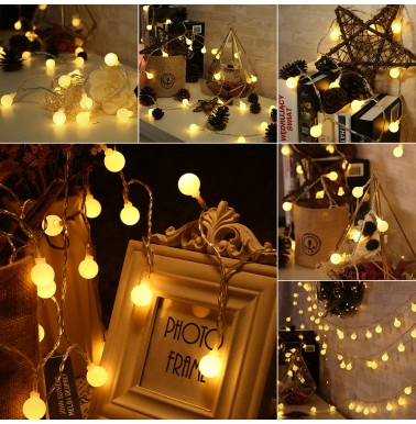 BrizLabs Christmas Globe Lights Battery Operated 2 Pack 17.4ft 50 LED Warm White Fairy String Lights Indoor Decorative Ball Lights Waterproof 8 Modes with Timer for Home Wedding Party Outdoor Garden