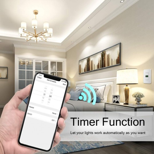 Wi-Fi Smart Dimmer Switch with Remote & Timer Works with