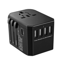 BrizLabs Worldwide Travel Adapter with 4 USB Ports 1 Type C  for Cell Phone Laptop Tablet